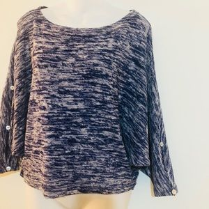 Anthropologie Postage Stamp blue knit top batwing
